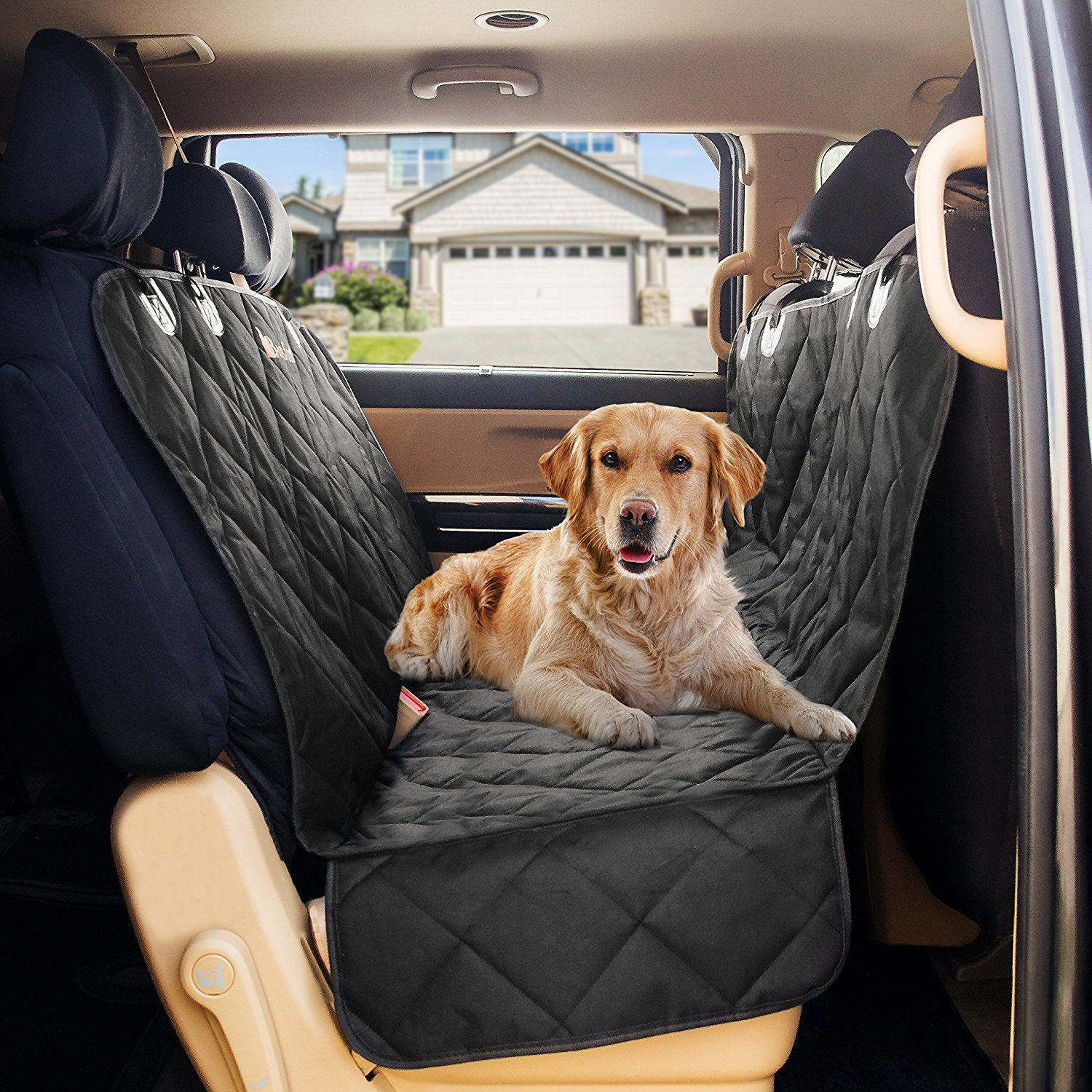 Deluxe Pet Car Seat Cover Waterproof Dog Hammock Ultimate Protector Non Slip Surface Easy To Install Fits All Vehicles