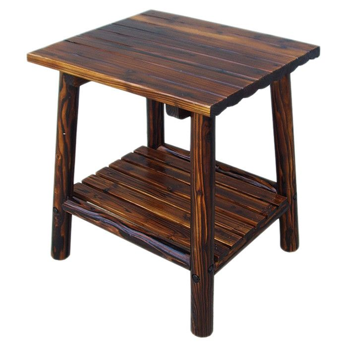accent log side table patio garden wayfair home. Black Bedroom Furniture Sets. Home Design Ideas