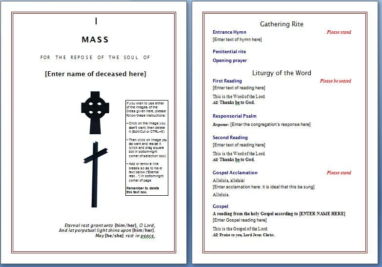 Free Funeral Program Templates    Template As Well Here You