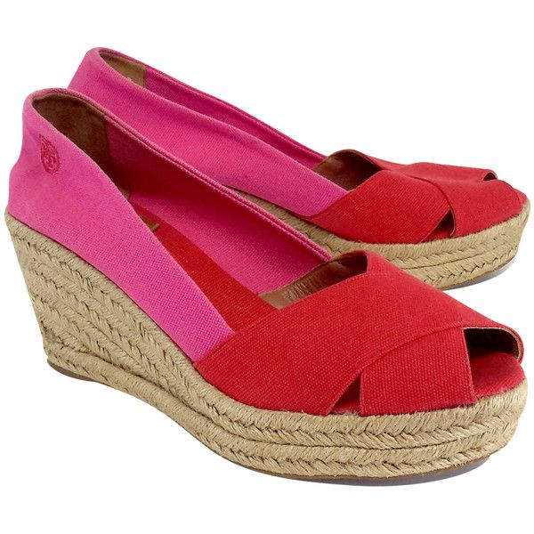 f983083403884e Pre-owned Tory Burch Red   Pink Canvas Espadrille Wedges (370 SAR ...