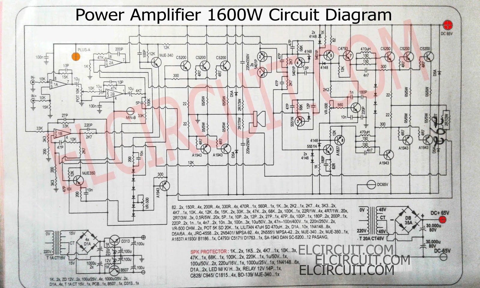 this power amplifier circuit is a 1600w mono circuit that uses transistors as an amplifier  [ 1600 x 960 Pixel ]