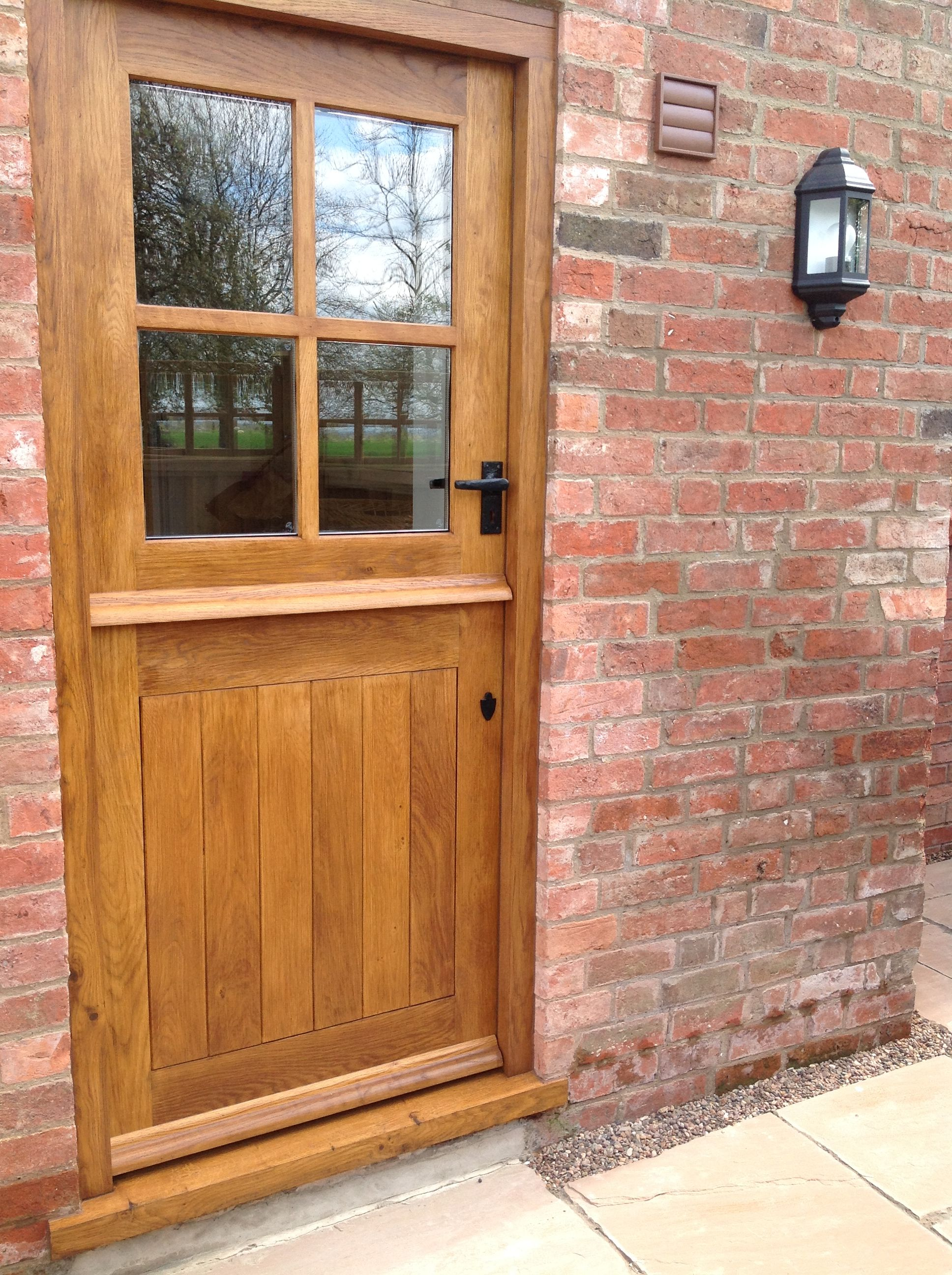 Solid oak external 4 panel stable door wood wooden stable for Door furniture uk
