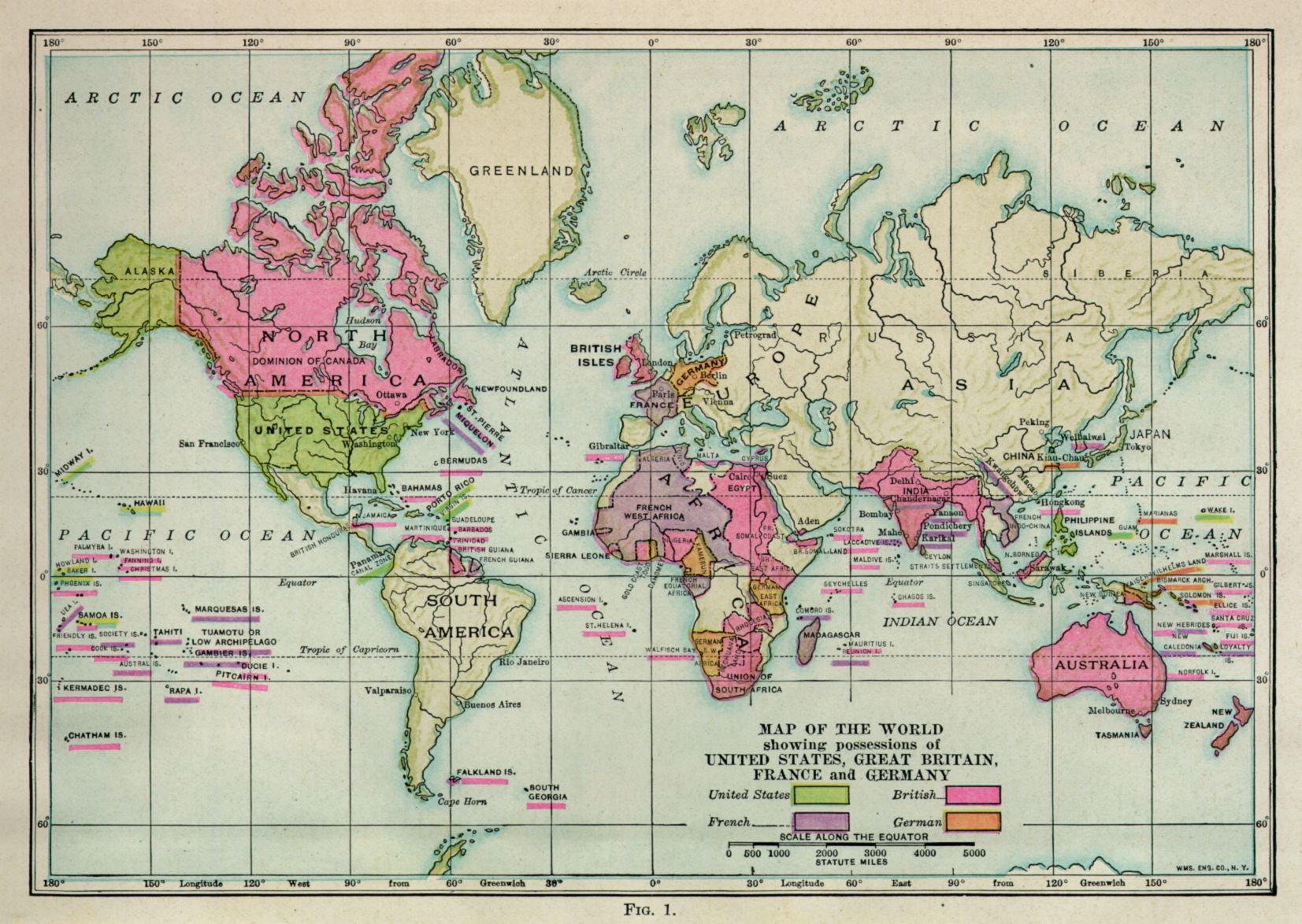 Map of the world showing possessions of united states great britain map of the world showing possessions of united states great britain france and germany gumiabroncs Image collections