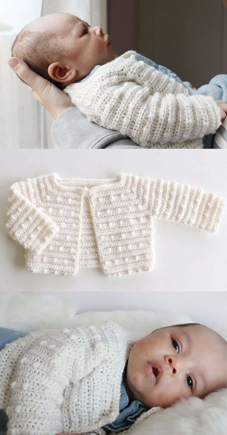 Free Crochet Pattern - Scattered Dots Baby Sweater  #crochetbabycardigan