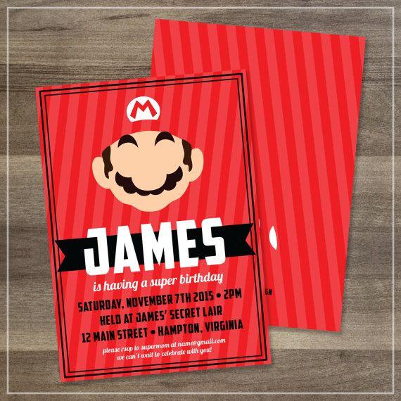 Mario Printable Birthday Party Invitation | $12.00 | Amanda Franks Design