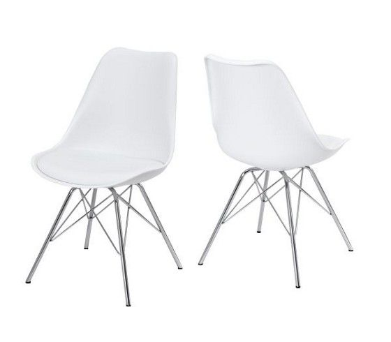 Mömax Stuhl Sallie Weiß Chrom Vitra Eames Plastic Side Chair DSR Cheap  White Chrome Günstig