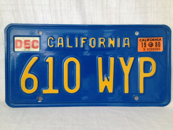 1980 Vintage California Car Automobile License Plate Vintage