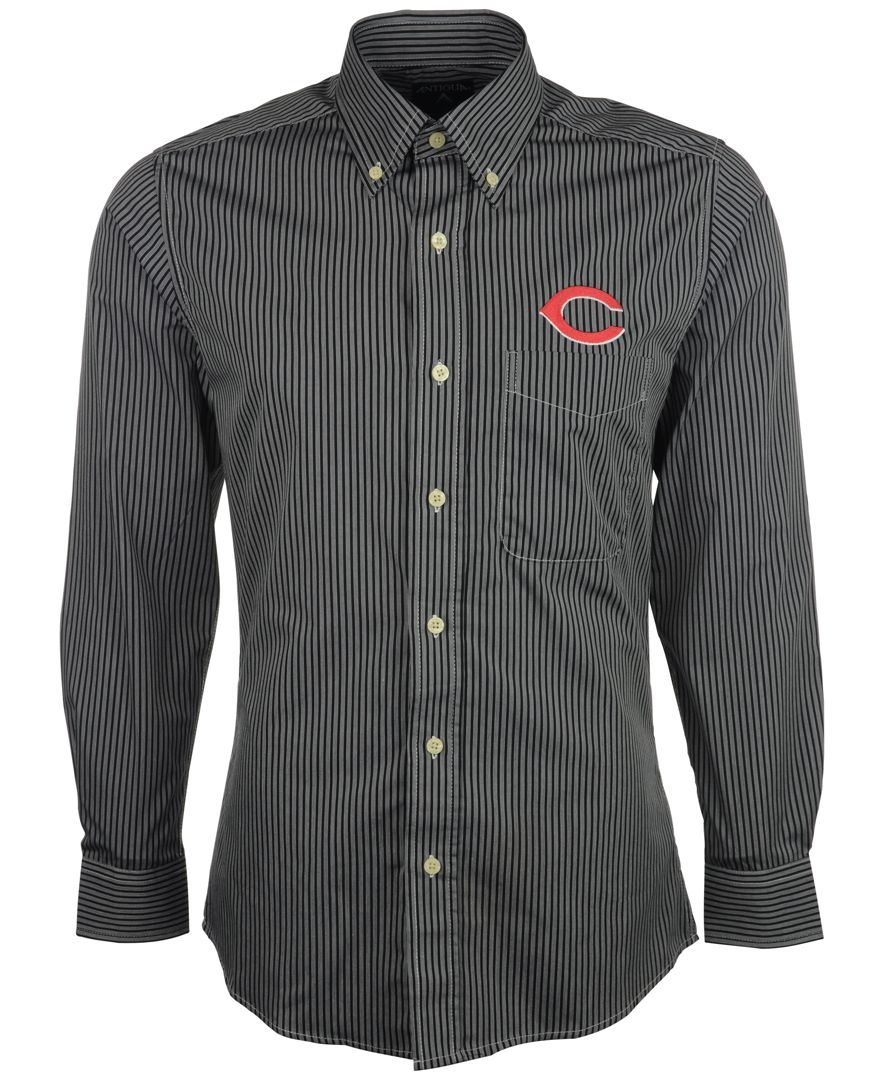 Antigua Men's Long-Sleeve Cincinnati Reds Button-Down Shirt