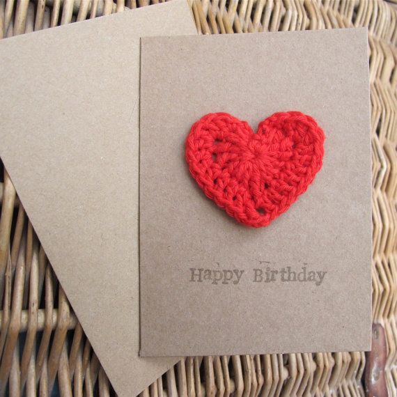A cute crochet Gift Card. A Happy Birthday card that is also a gift. The cute crochet heart is a fridge magnet :)