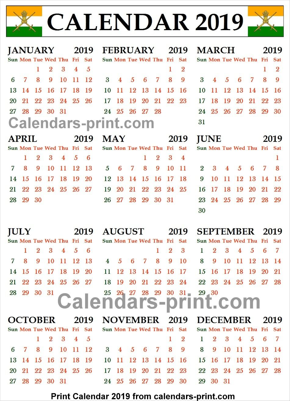 India Calendar 2019 Year Calendar 2019 India | 2019 Yearly Calendar | Yearly calendar