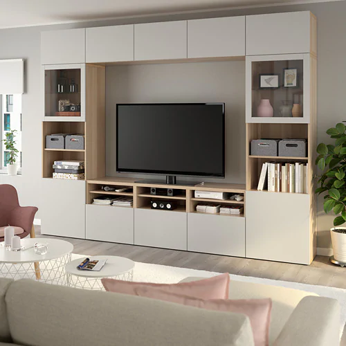 BESTÅ TV storage combination/glass doors - Lappviken/Sindvik white clear glass - IKEA