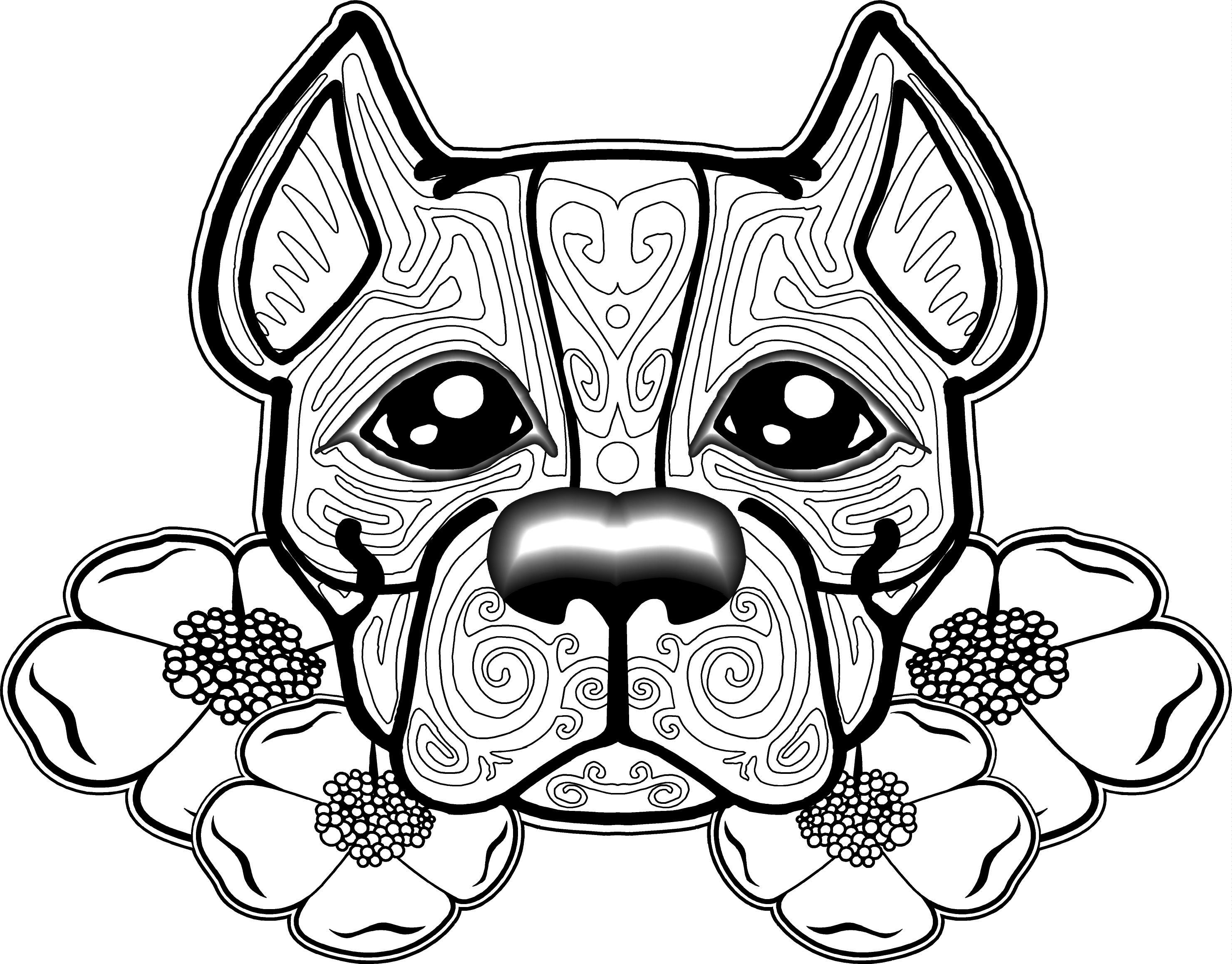 free dog coloring pages for adults - Pitbull Coloring Pages