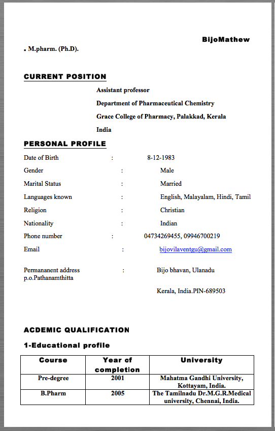 assistant professor resume example bijomathew  m pharm   ph d    u2026