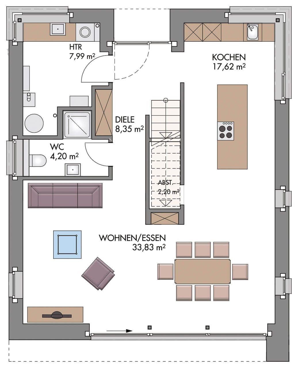 Einfamilienhaus Grundriss Erdgeschoss Modern Küche Offen Mit Kücheninsel U0026  Treppe Gerade   Hausbau Ideen ECO Vario