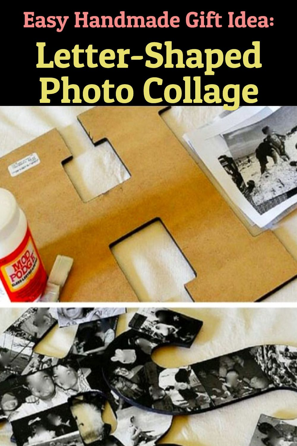 Easy Handmade Gift Idea: / Letter-Shaped Photo Collage