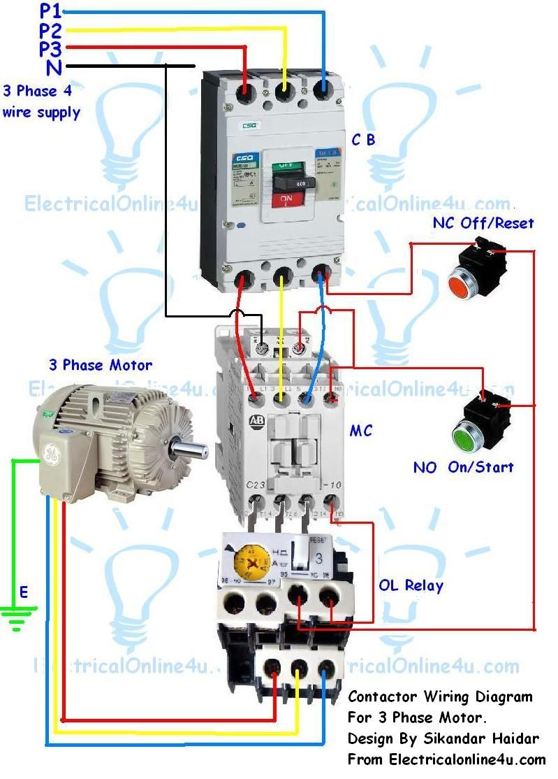 Contactor Wiring Guide For 3 Phase Motor With Circuit Breaker, Overload Relay, NC NO Switches