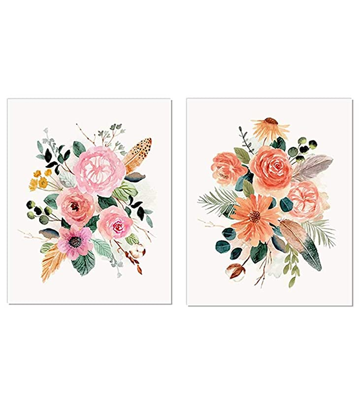 Amazon Com Vintage Botanical Art Prints Watercolor Flower Posters Pink Floral Wall Art Feminine Blossom Artwork Watercolor Flower Art Floral Poster Flower Art