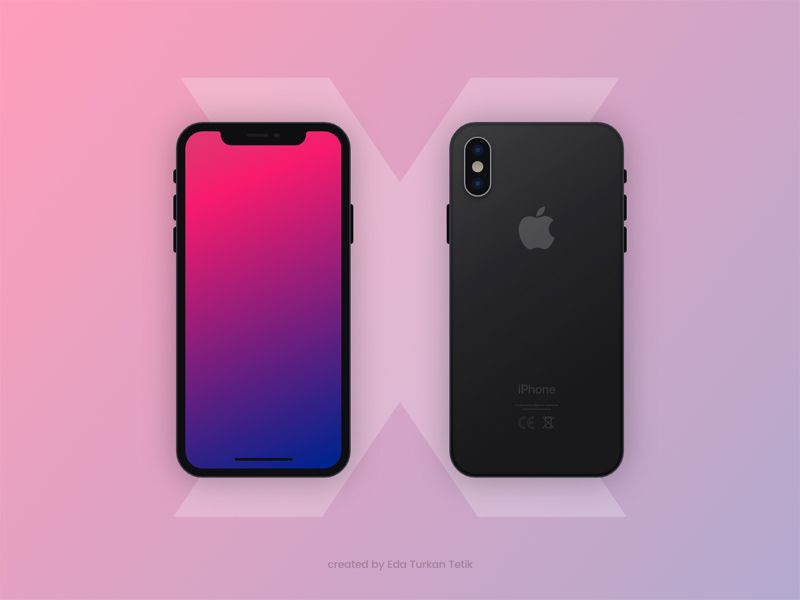 iPhone X front and back template mockups  | Adobe XD Mockups