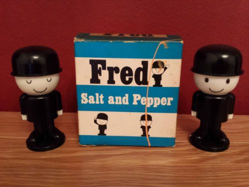 1979 VINTAGE HOMEPRIDE FRED PLASTIC SALT & PEPPER CRUET SET IN THE ORIGINAL BOX | eBay