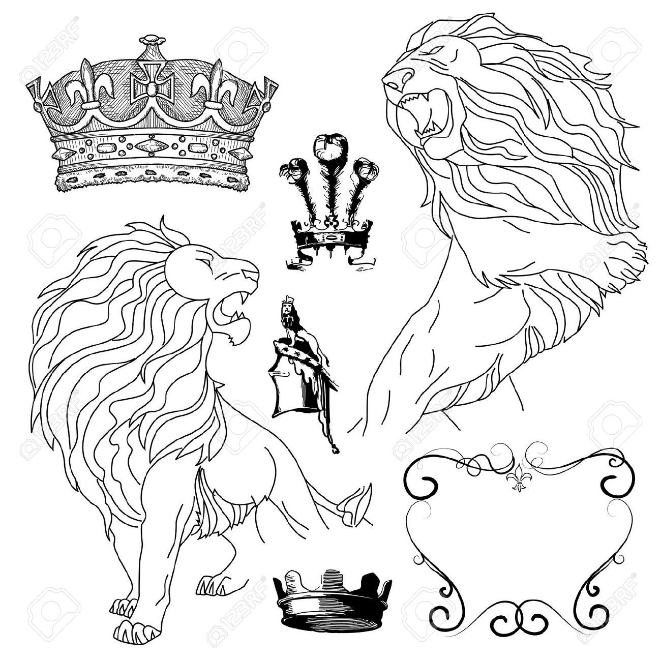 12494159-Set-of-lion-and-crown-heraldry--Stock-Vector-tattoo.jpg ...
