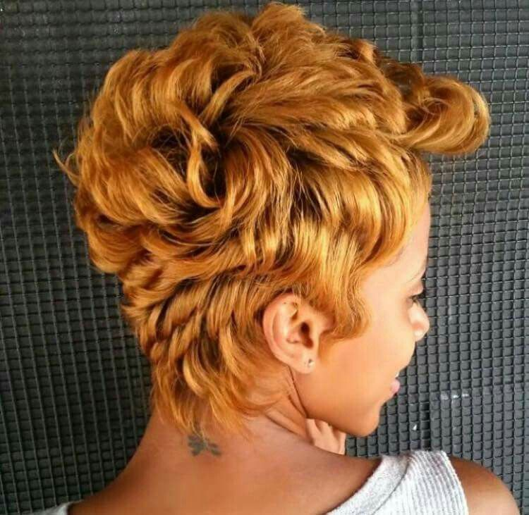 Honey Blonde Pixie In 2019 Black Women Hairstyles Curly