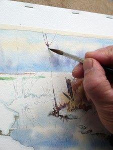 26 Aquarelle Paysage Neige Aquarelle Peinture Aquarelle Et