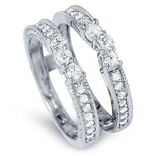 Pompeii 60 Cttw Vintage Guard Ring Insert 14k White Gold Wedding Band Diamond Wedding Bands