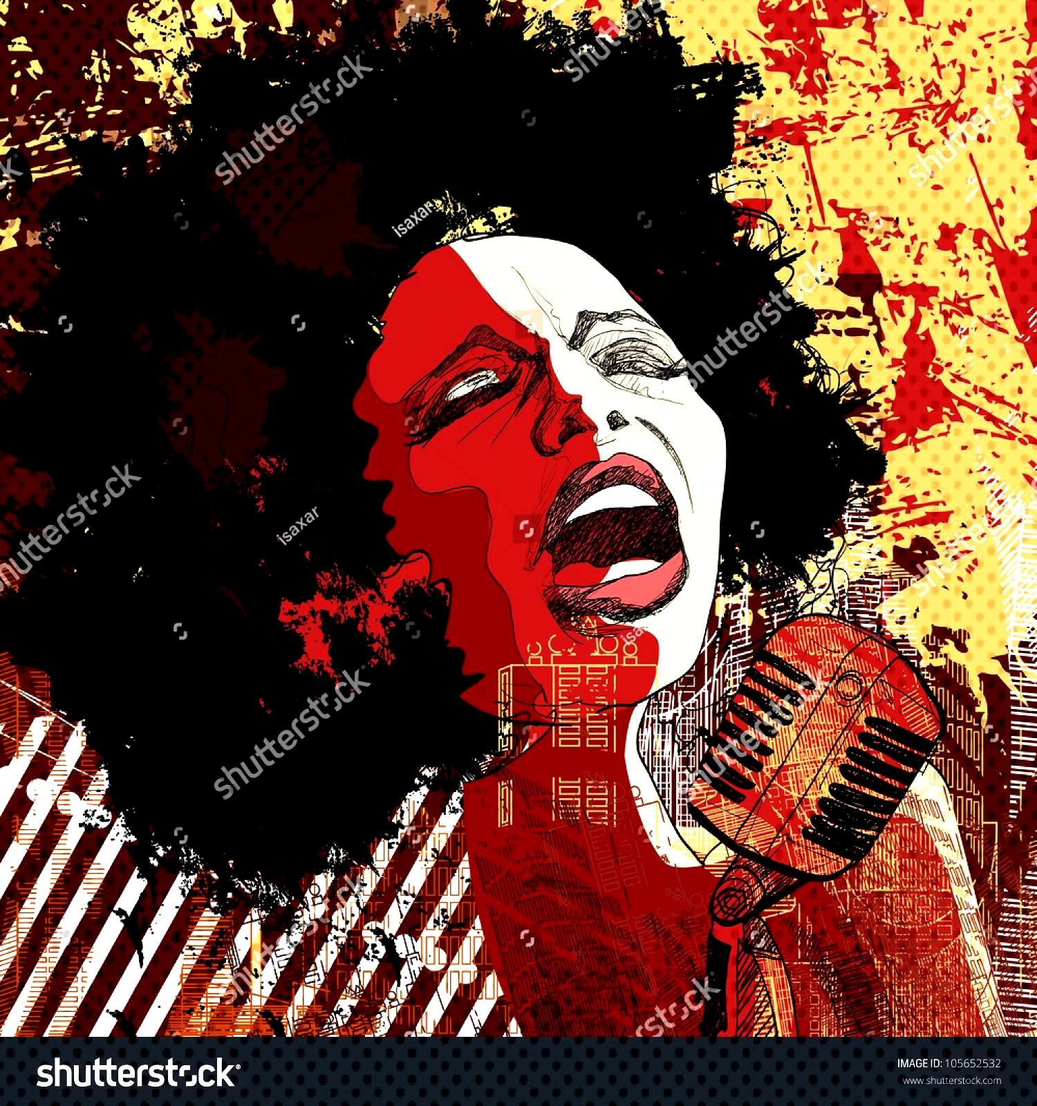 Music Jazz - afro american jazz singer on grunge background - vector illustration ,