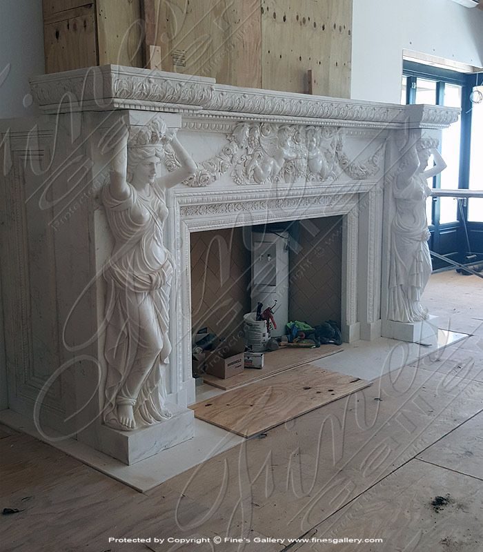 Ornate White Marble Fireplace In 2020 Marble Fireplace Mantel