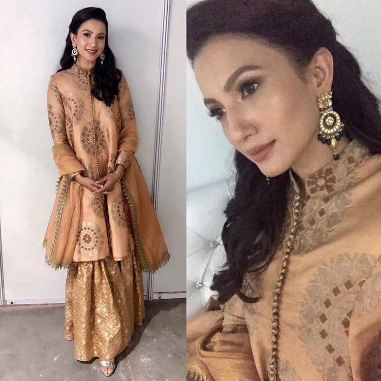 GauaharKhan In @RadhikaAiri Outfit & @DwarkadasChandumalJewellers Earrings for #GautamRode - Pankhuri's Haldi Ceremony i…   Outfits, Indian outfits, Indian dresses