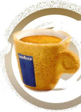 Edible coffee and tea cups designed by Sardi for Italian