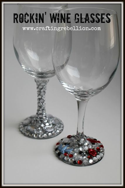 For This Project You will Need:  Wine Glass ( 1 at The Dollar Tree)  Acrylic Gems ( 1 a Pack at The Dollar Tree, or find them at craft stores like Michael's)  Cabochons (Plastic buttons without the shank, scrapbook stickers with the adhesive removed, jewelry etc.)  E 6000 Adhesive (or other jewelry type glue that bonds to glass)  Gem Pick Up Tool or Wax Pencil