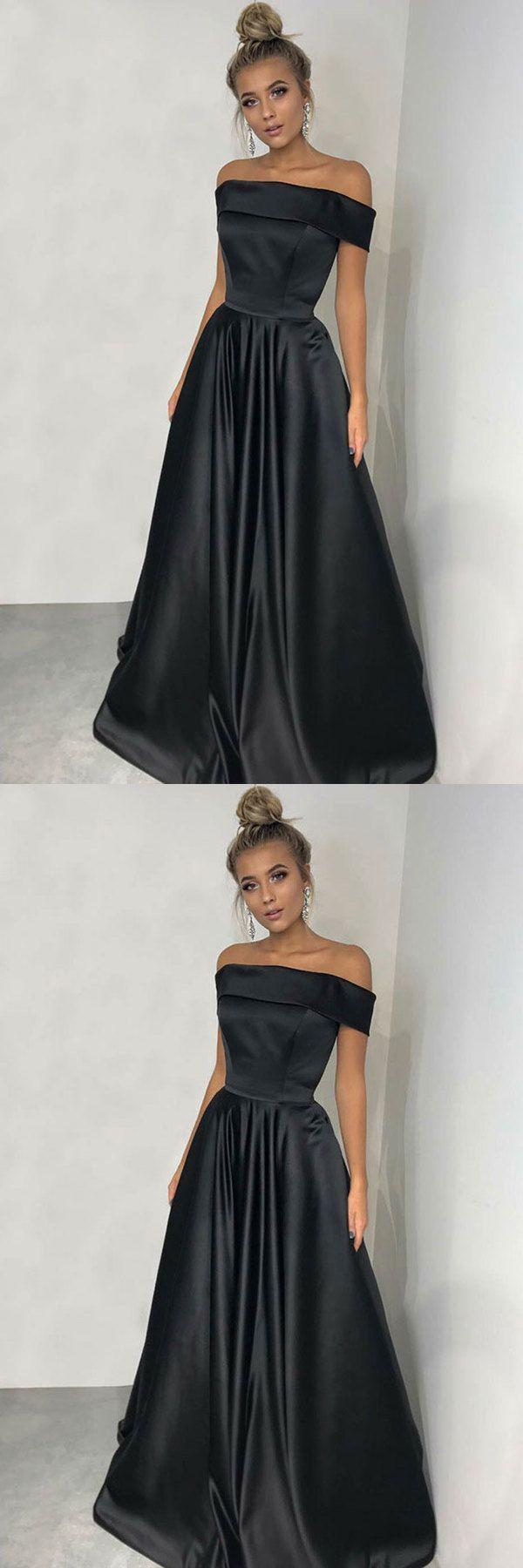 charming simple cheap elegant long black satin prom dresses