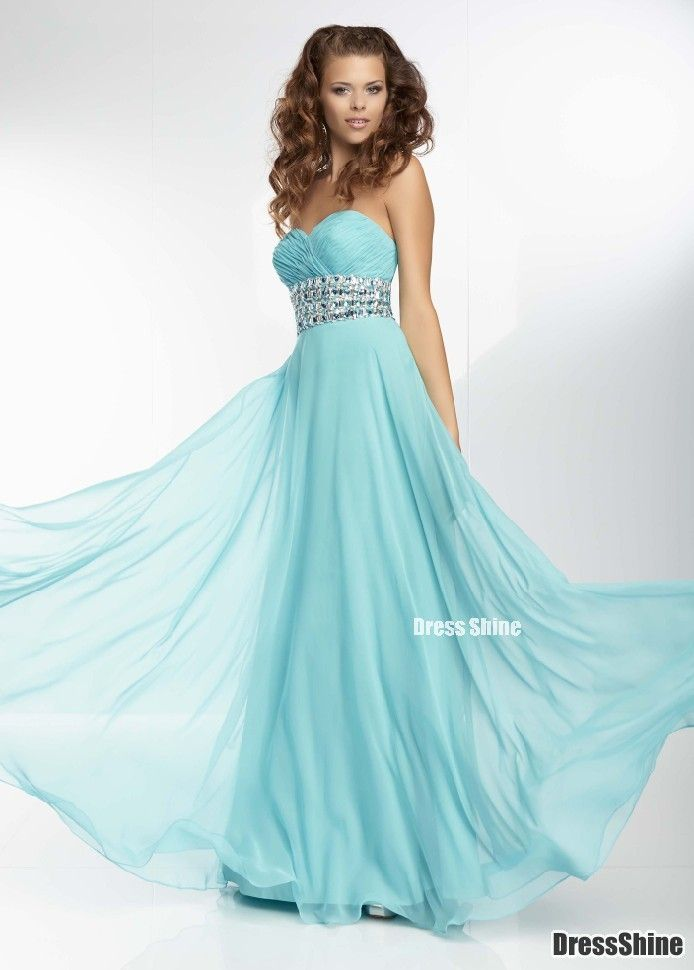 A Line Sweetheart Chiffon and Beading Blue Prom Dress - PROM