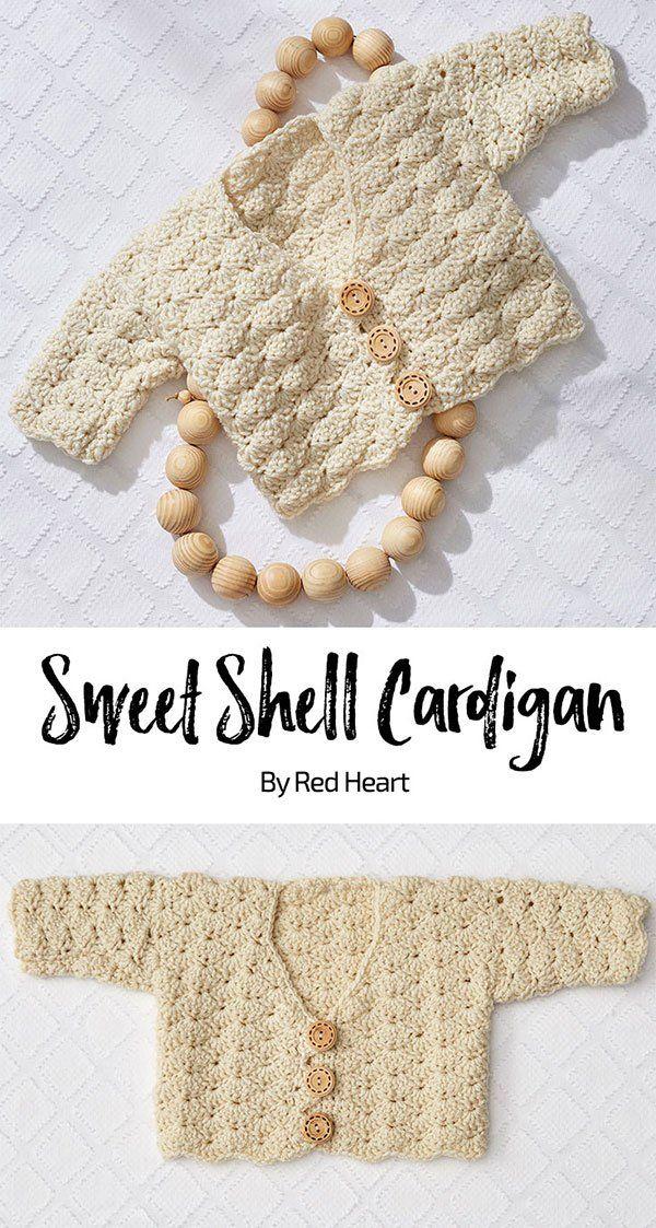 Sweet Shell Cardigan free crochet pattern in Baby Hugs Medium yarn ...