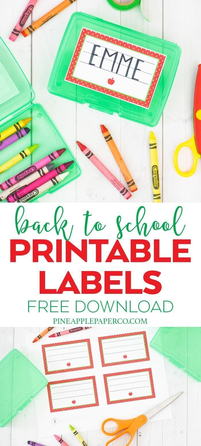 Free Printable School Labels is part of Free birthday printables, Labels printables free, Party printables free, Free birthday stuff, School labels, Free printables - Download FREE Back to School Printable Name Labels for Crayon Boxes, Personalized School Labels, School Supplies, and Name Labels by Pineapple Paper Co