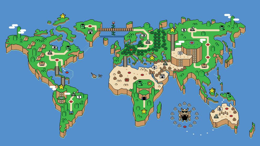 A Super Mario Bros Take On The World Map Super Mario World