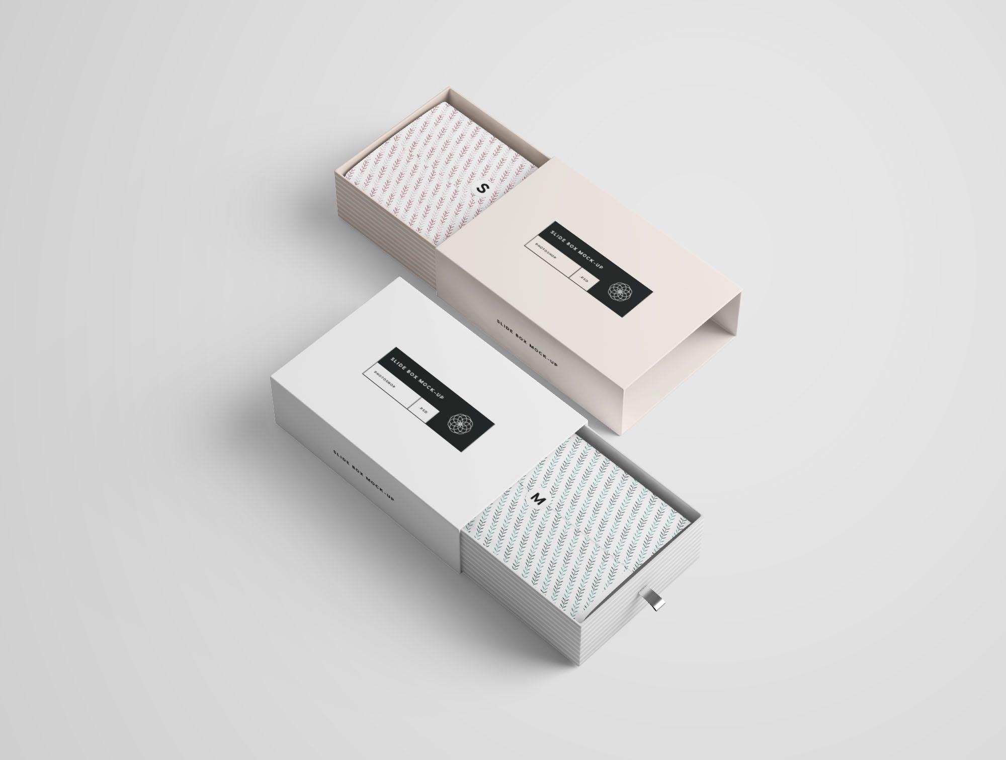 Download 2 Rectangle Slide Box Mockups Box Mockup Slide Box Mockup