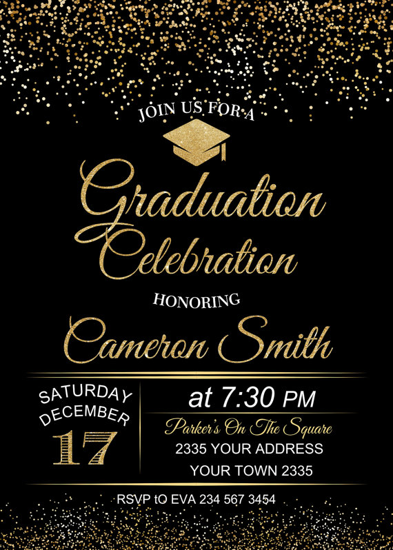 awesome modern graduation invitations cards black color background