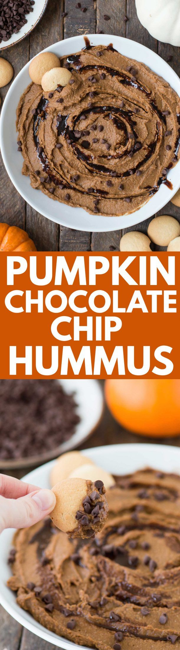 A healthier dessert hummus for the fall! Pumpkin chocolate chip hummus! #desserthummus