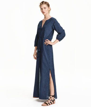 Lång klänning med broderier | Mörkblå | Ladies | H&M SE