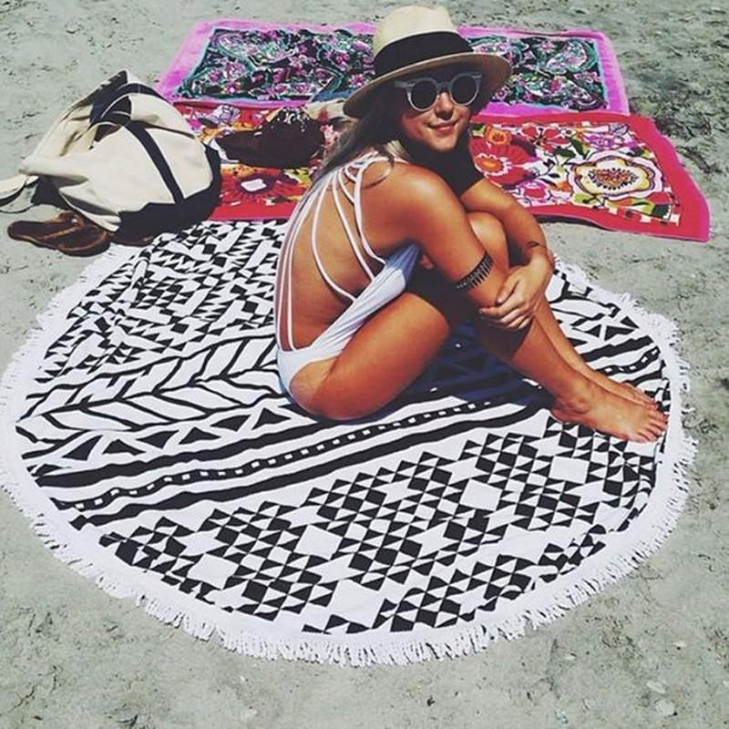 Microfiber Beach Towel With Tassel Print In 2019