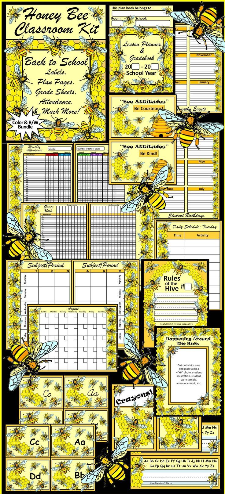 Honey Bee Classroom Kit Lesson Planner Packet Contains Beautiful Themed Management