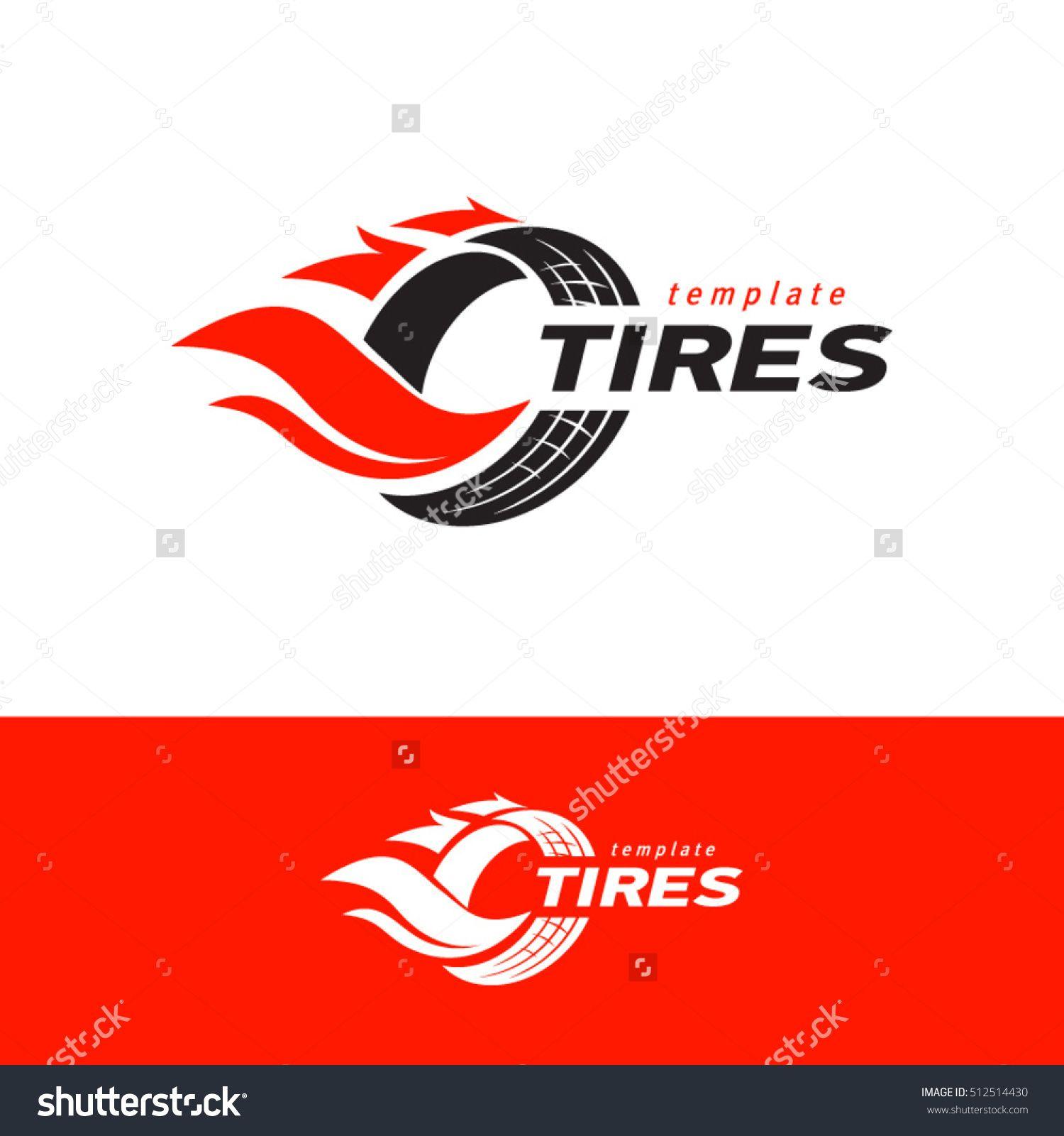 Tires Logo Design Template Silhouette Wheel Vector Red Color