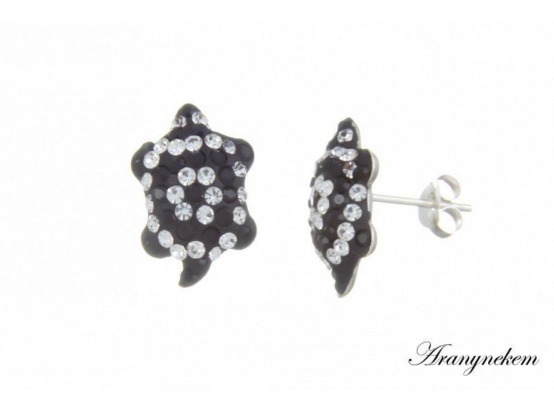 őszi cipő olcsó top design Fehér és fekete Swarovski kristályos teknős motívumos beszúrós ...
