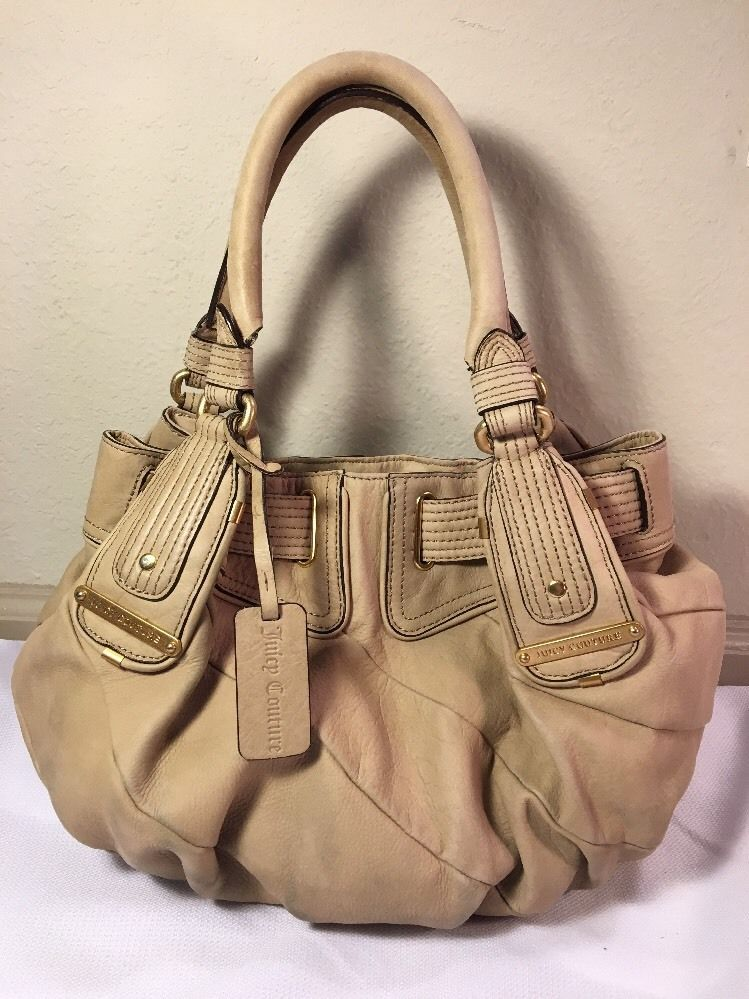 Details about Juicy Couture Genuine Cream Leather Belted Shoulder ...