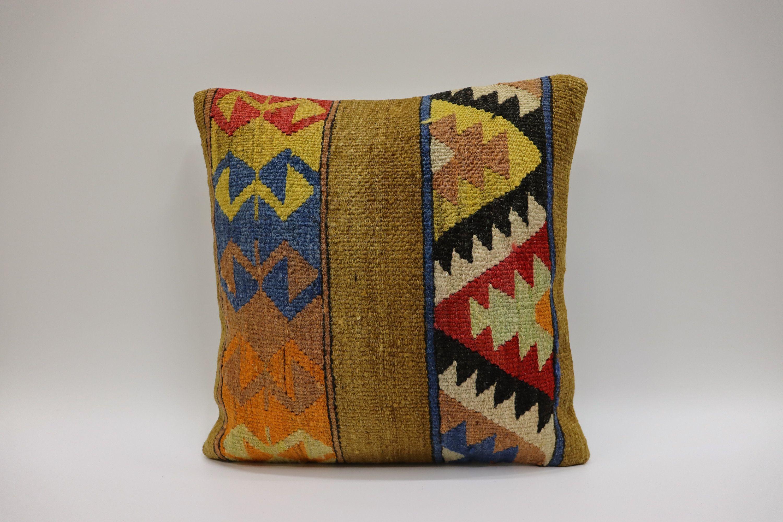 Kilim Pillow 16x16inch 40x40cm Handwoven Pillow Cushion Cover Vintage Kilim Pillow Kilim Cushion Bohemian Pillow Turk Multicolor