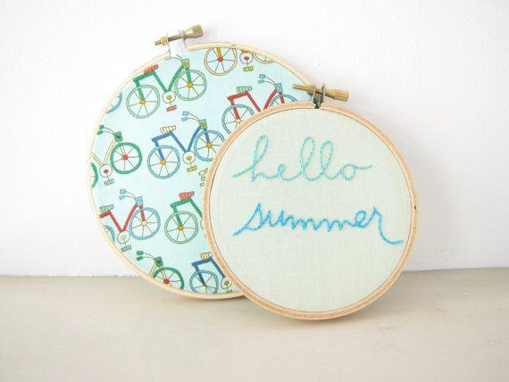 Hello Summer Embroidery Hoop Wall Art Set sea by AthenaandEugenia