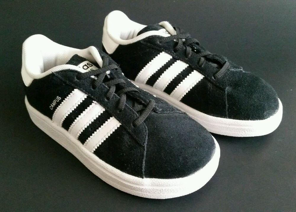 Adidas campus 2 figli, mocassini bianchi e neri taglia 9 g48934
