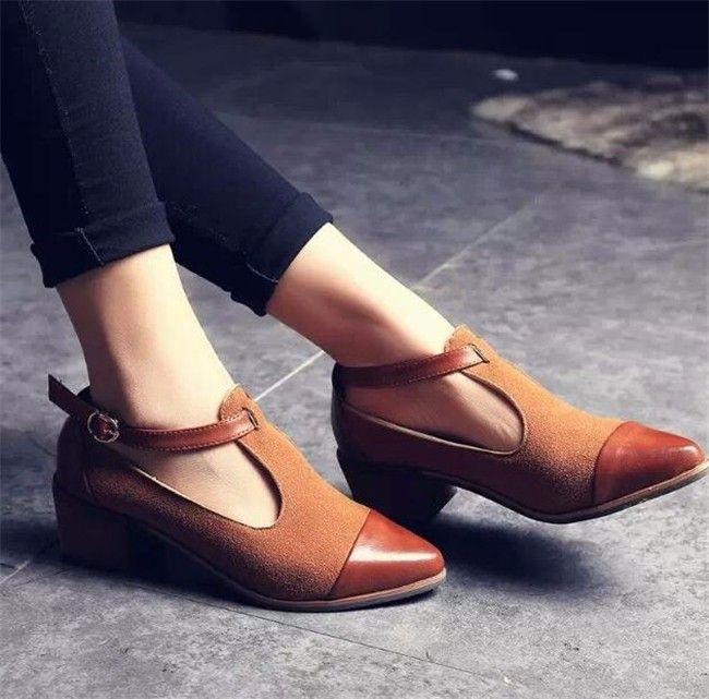 Aliexpress.com  Comprar 2016 Vintage zapatos Oxford mujeres punta estrecha  Cut Out de tacón Med Patchwork hebilla para mujer de los zapatos planos … 81c7120263c5